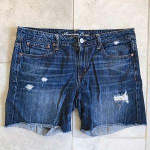 Pants - Distressed denim cutoff shorts